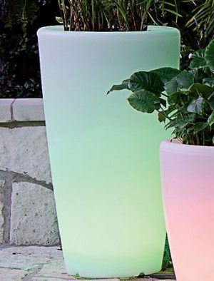 Solar powered illuminated planters
